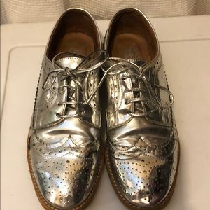 Jeffrey Campbell Metallic Silver Oxfords